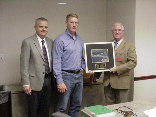 Pictured with the award are, from left, Tom Pericak, Buffalo Division director of the Thruway Authority; Chris Hulse, project engineer Buffalo Division CE-2, and Mark Horschel, senior project manager, Bergmann Associates.