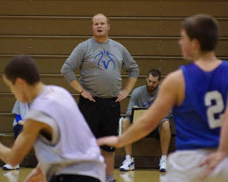 Grand Island boys basketball coach Nate Beutel watches the Vikings' scrimmage Wednesday against Newfane.
