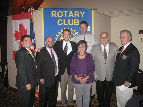 The Grand Island Rotary Club received its annual visit from the club's district governor. Pictured above, the club inducted new members. From left: Rotary President Joe Philippone and new members Connor Middle School Principal Jerry Parisi, architect intern Alex Grande, process engineer Henry Richardson, Marie Delsignore, President-elect Angelo Grande, District 7090 Gov. Kevin Crouse.