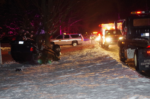 Grand Island Fire Co. personnel and law enforcement responded to a rollover accident on New Year's Eve on Stony Point Road between Huth Road and East River Road. (photo by Larry Austin)
