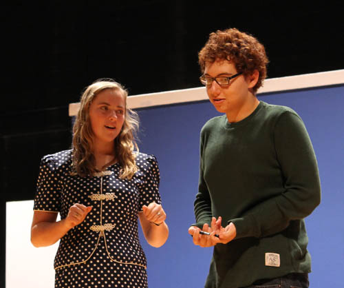 Grace Kulikowski and Tom Rall fall in love the romantic comedy `Don't Drink the Water.` The production by the Spotlighters drama club of Grand Island High School opened Thursday night and continues Friday and Saturday.  (photo by Larry Austin)