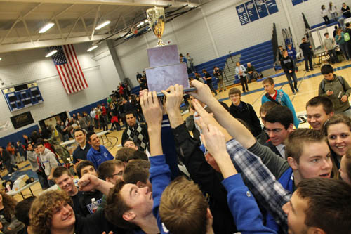 Grand Island High School students hold aloft the championship trophy after winning Tech Wars at Niagara County Community College Wednesday. (photo by Larry Austin)