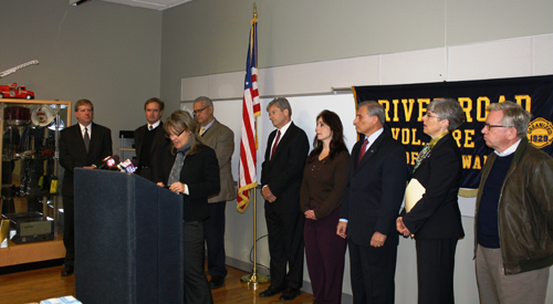 Pictured, from left: Erie County Legislator Kevin Hardwick, Congressman Brian Higgins, Tonawanda Community Fund Organizer and resident Jackie James-Creedon (at podium), City of Tonawanda Mayor Ron Pilozzi, Tonawanda Development Corp. Director Bob Dimming, Ken-Ton Chamber Executive Director Tracey Lukasik, Town of Tonawanda Supervisor Anthony Caruana, Grand Island Supervisor Mary Cooke and Assemblyman Robin Schimminger