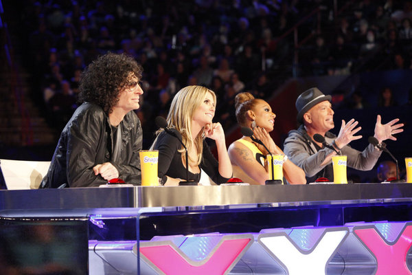 `America's Got Talent` New Orleans auditions: Pictured from left are judges Howard Stern, Heidi Klum, Mel B and Howie Mandel. (NBC photo by Skip Bolen)