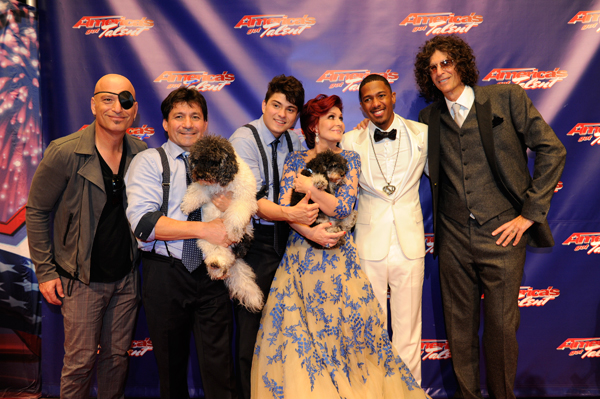 Olate Dogs (pictured with Howie Mandel, Sharon Osbourne, Nick Cannon, and Howard Stern) is named the winner of NBC's `America's Got Talent` season 7, winning a $1 million prize and a headlining show in Las Vegas. (NBC photo)