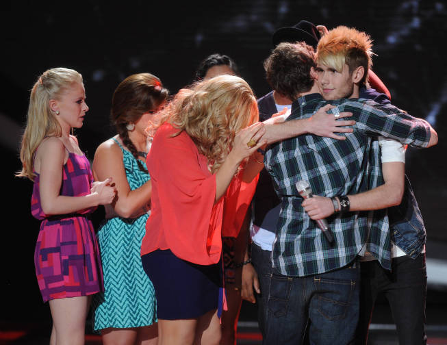Eliminated contestant Colton Dixon receives support on `American Idol` on FOX. (photo by Frank Micelotta/FOX)
