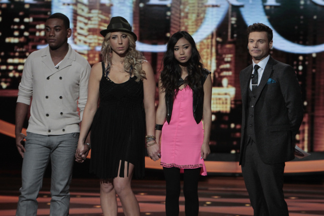 `American Idol`: The bottom three on Thursday's show, from left: Josh Ledet, Elise Testone and Jessica Sanchez. Also pictured: host Ryan Seacrest. (photo by Carin Baer/FOX)