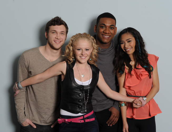 `American Idol`: The final four, from left: Phillip Phillips, Hollie Cavanaugh, Josh Ledet and Jessica Sanchez. (photo by Michael Becker/FOX)