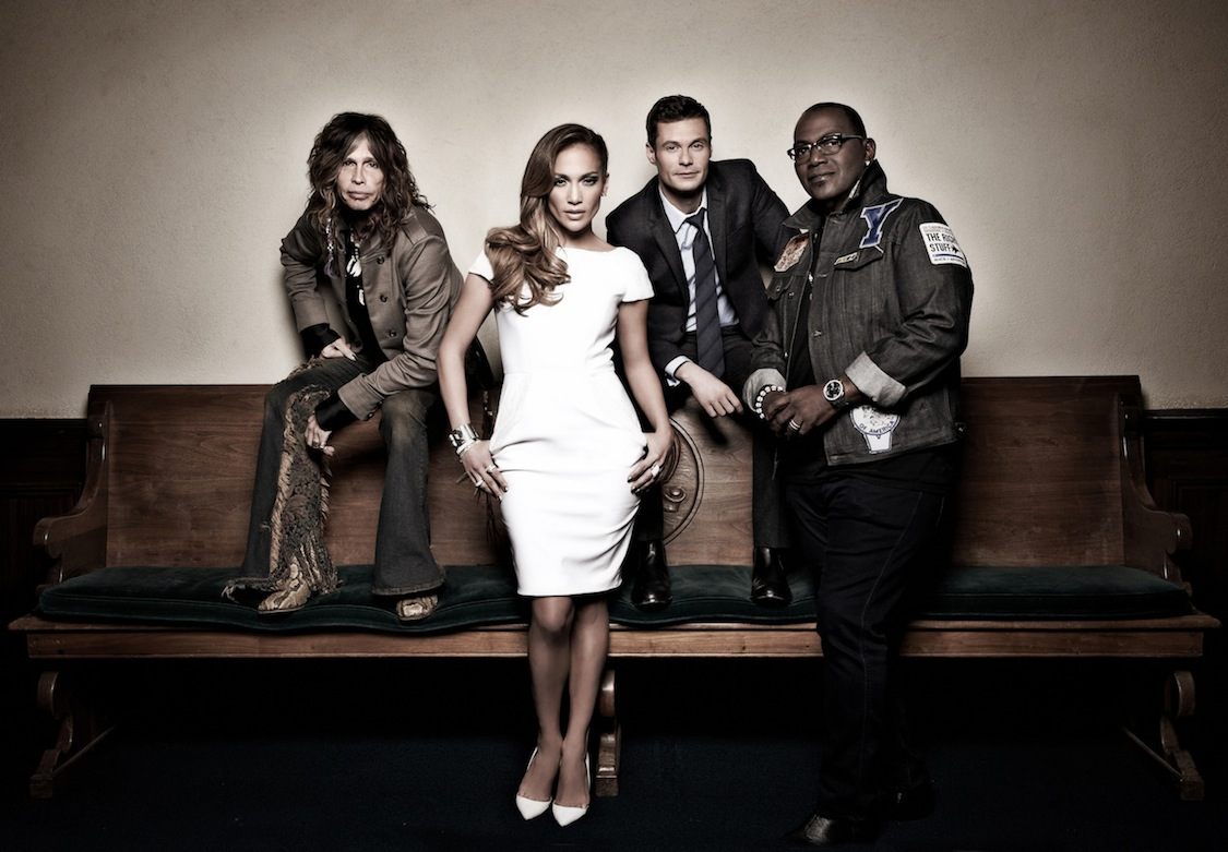`American Idol`: From left, Steven Tyler, Jennifer Lopez, Ryan Seacrest and Randy Jackson. (photo by Michael Becker/FOX)