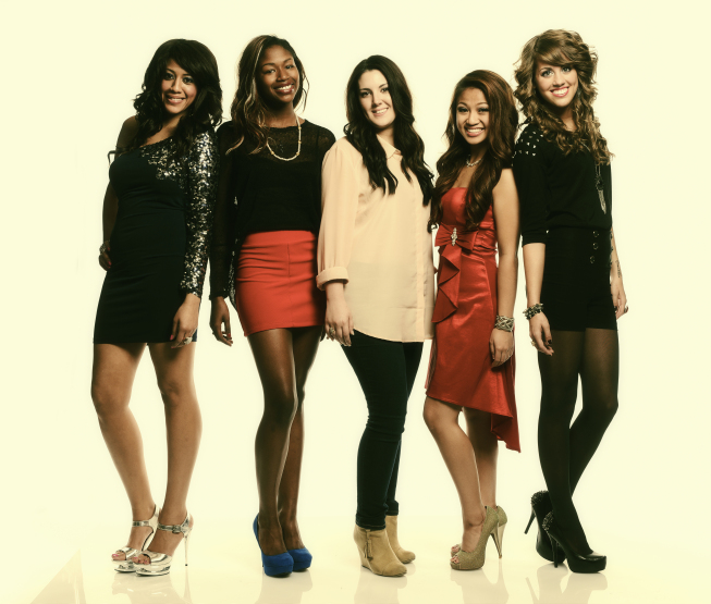 `American Idol` Top 20: From left are Tenna Torres, Amber Holcomb, Kree Harrison, Adriana Latonio and Angela Miller (photo by Michael Becker/FOX; Copyright: FOX)