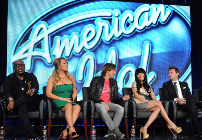 2013 FOX Winter TCA: Pictured from left are `American Idol` judges Randy Jackson, Mariah Carey, Keith Urban and Nicki Minaj, and host Ryan Seacrest during the `American Idol` session at the 2013 FOX Winter TCA on Tuesday, Jan. 8, at the Langham Hotel in Pasadena, Calif. (photo by Frank Micelotta/FOX)