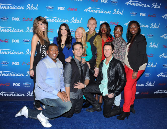 `American Idol`: (Top row, from left): Top 10 finalists Angie Miller, Kree Harrison, Janelle Arthur, Devin Velez, Amber Holcomb, Burnell Taylor and Candice Glover; (bottom row, from left) Curtis Finch Jr., Lazaro Arbos and Paul Jolley. The singers arrive on the blue carpet at the season 12 `American Idol` finalist party on Thursday, March 7, at The Grove in Los Angeles. (photo by Scott Kirkland/FOX)