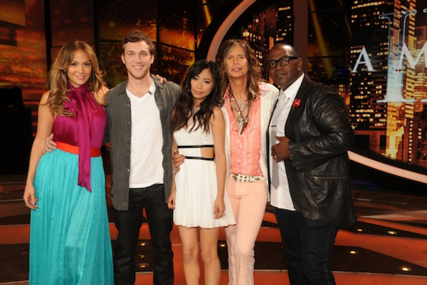 `American Idol: The final two with the judges. Pictured, from left, are Jennifer Lopez, Phillip Phillips, Jessica Sanchez, Steven Tyler and Randy Jackson. (photo by Michael Becker/FOX)