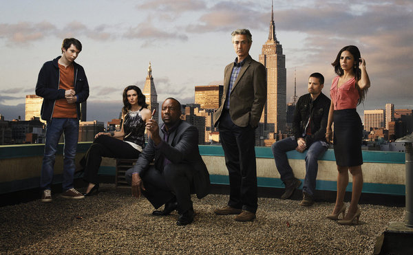 Pictured, from left, is the cast of `Alphas`: Ryan Cartwright as Gary Bell, Laura Mennell as Nina Theroux, Malik Yoba as Bill Harken, David Strathairn as Dr. Leigh Rosen, Warren Christie as Cameron Hicks, and Azita Ghanizada as Rachel. (Syfy Channel photo by Justin Stephens)