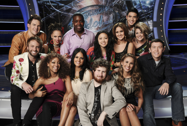 The `American Idol` Top 13: (bottom row, from left) Paul McDonald, Ashthon Jones, Pia Toscano, Casey Abrams, Haley Reinhart and Scott McCreery; (top row, from let) James Durbin, Naima Adedapo, Jacob Lusk, Thia Megia, Karen Rodriguez, Stefano Langone and Lauren Alaina. (FOX photo/credit: Michael Becker/FOX)