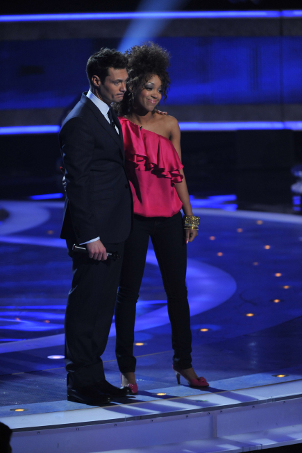 Ashton Jones is eliminated on `American Idol.` Also pictured is host Ryan Seacrest. (photo credit Mark Davis/PictureGroup for FOX)
