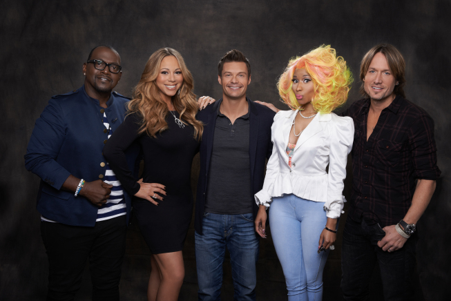 `American Idol` season 12: From left are judges Randy Jackson, Mariah Carey, host Ryan Seacrest, Nicki Minaj and Keith Urban. (photo by Michael Becker/FOX)