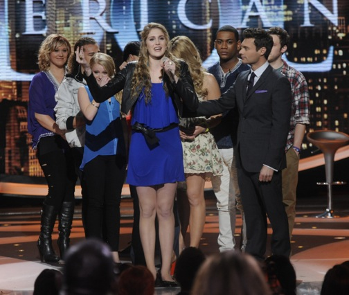 Shannon Magrane (center) was eliminated on `American Idol` on Thursday, March 15. (photo by Michael Becker/FOX)