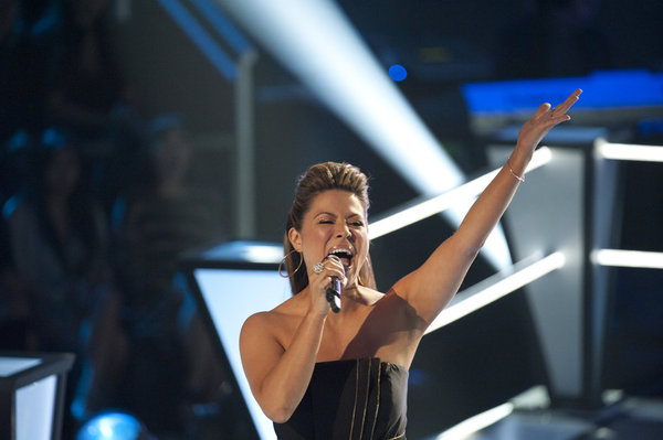 Angie Johnson performs on `The Voice` on NBC. (photo by Lewis Jacobs/NBC)