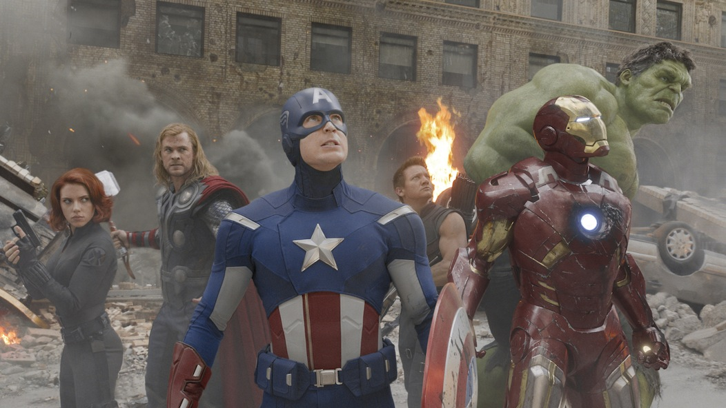 `Marvel's The Avengers.` Pictured from left: Black Widow (Scarlett Johansson), Thor (Chris Hemsworth), Captain America (Chris Evans), Hawkeye (Jeremy Renner), Iron Man (Robert Downey Jr.), and Hulk (Mark Ruffalo) (Ph: Film Frame © 2011 MVLFFLLC. TM & © 2011 Marvel. All Rights Reserved.)
