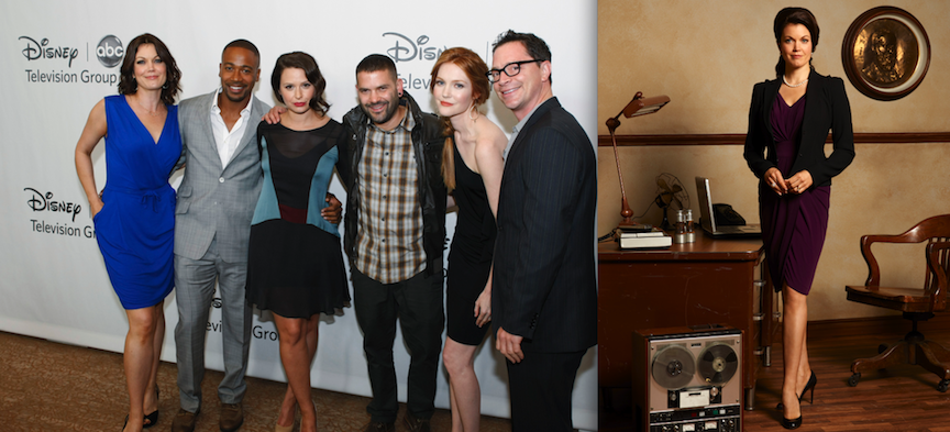 Pictured at the 2012 TCA Summer Press Tour: Talent, executives and showrunners from ABC and ABC Family arrived at the Beverly Hills Ballroom of the Beverly Hilton Hotel at Disney/ABC Television Group's All-Star Cocktail Reception. Shown is Bellamy Young, far left, with Columbus Short, Katie Lowes, Guillermo Diaz, Darby Stanchfield and Joshua Malina. (photo by Rick Rowell/ABC) Bellamy plays Mellie Grant on ABC's `Scandal.` (photo by Craig Sjodin/ABC)