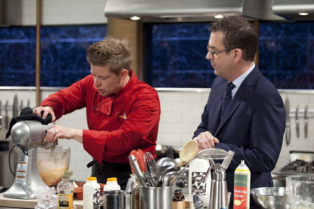 Richard Blais (LEFT) and host Ted Allen on season three of `Chopped All-Stars.` (Food Network photo)