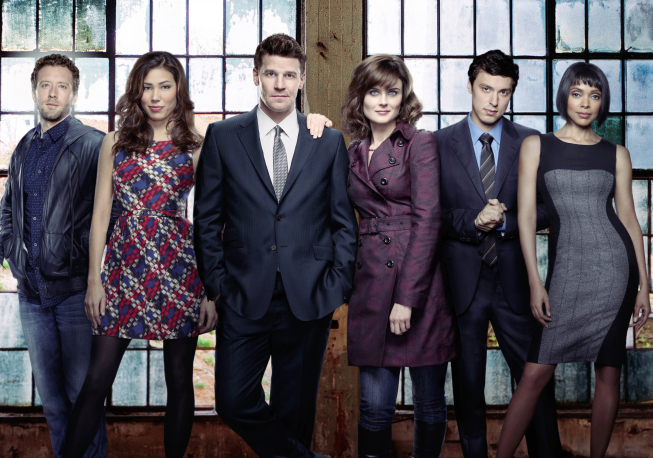 `Bones`: Pictured from left: TJ Thyne, Michaela Conlin, David Boreanaz, Emily Deschanel, John Francis Daley and Tamara Taylor. The eighth season of `Bones` airs Mondays at 8 p.m. on FOX. (photo ©2012 Fox Broadcasting Co./credit: FOX)