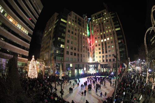 A scene from a previous downtown Christmas Tree Lighting Celebration.