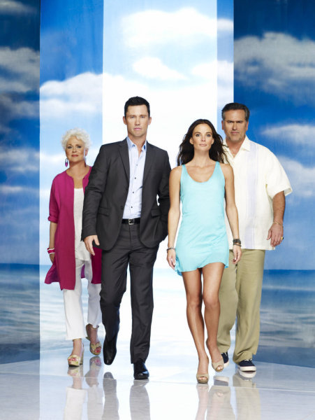 Pictured from `Burn Notice` are Sharon Gless as Madeline Westen, Jeffrey Donovan as Michael Westen, Gabrielle Anwar as Fiona Glenanne and Bruce Campbell as Sam Axe (photo by: Nigel Parry/USA Network)