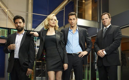 Pictured from `Chuck`: Joshua Gomez as Morgan Grimes, Yvonne Strahovski as Sarah Walker, Zachary Levi as Chuck Bartowski and Adam Baldwin as John Casey (NBC photo by Mitchell Haaseth)