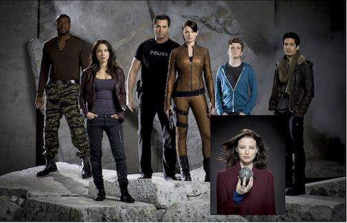 `Continuum` Rachel Nichols (center and inset) stars as Kiera Cameron. Pictured from left are Roger Cross as Travis Verta, Lexa Doig as Sonya Valentine, Victor Webster as Carlos Fonnegra, Nichols, Erik Knudsen as Alec Sadler, Stephen Lobo as Matthew Kellog. (photos by Kharen Hill/Syfy)