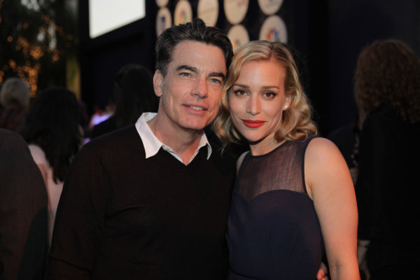 Pictured at the 2010 NBC Universal Press Tour All-Star Party are `Covert Affairs` stars Peter Gallagher and Piper Perabo (photo by Paul Drinkwater/NBC)