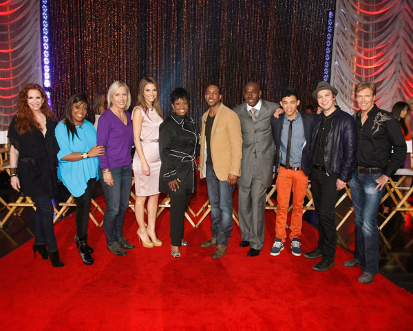 Pictured from left are `Dancing with the Stars` celebrities Melissa Gilbert, Sherri Shepherd, Martina Navratilova, Maria Menounos, Gladys Knight, Jaleel White, Donald Driver, Roshon Fegan, Gavin DeGraw, Jack Wagner. (photo ©2012 American Broadcasting Companies Inc.)