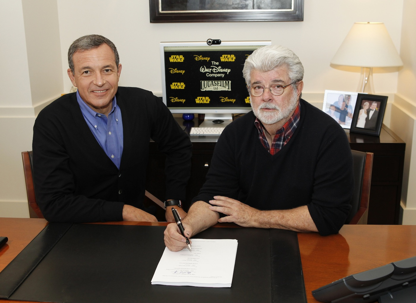 The Walt Disney Company President and CEO Robert A. Iger, left, meets with George Lucas. (photo by Rick Rowell/Disney)