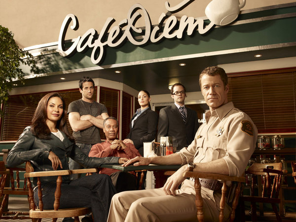 Pictured, from left, is the cast of `Eureka`: Salli Richardson-Whitfield as Allison Blake, Niall Matter as Zane Donovan, Joe Morton as Henry Deacon, Erica Cerra as Jo Lupo, Neil Grayston as Douglas Fargo, and Colin Ferguson as Jack Carter. (Photo by Art Streiber/Syfy)