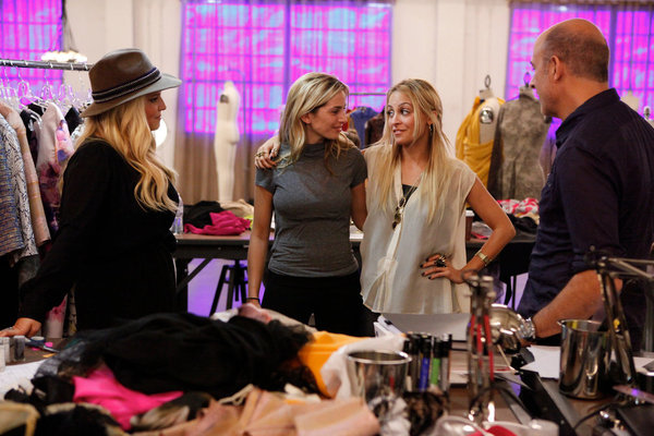 `Fashion Star` `Buyer's Choice` episode. Pictured from left are Jessica Simpson, Luciana Scarabello, Nicole Richie and John Varvatos. (photo by Tyler Golden/NBC)