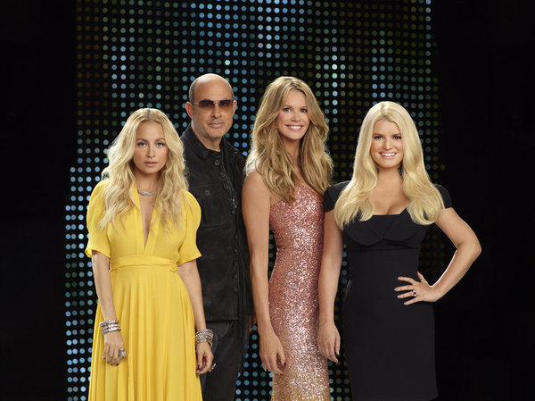 Pictured from `Fashion Star`: Nicole Richie, John Varvatos, host Elle Macpherson and Jessica Simpson. (photo by John Russo/NBC)