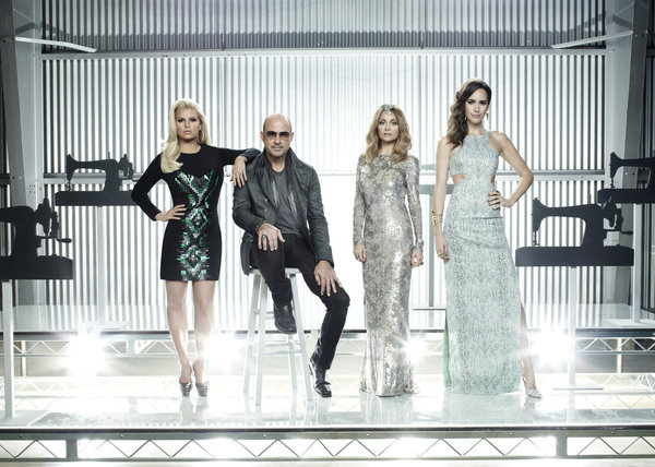 `Fashion Star` season 2: Pictured from left are mentors Jessica Simpson, John Varvatos and Nicole Ritchie and hosts Louise Roe. The show airs Fridays at 9 p.m. on NBC. (photo by Brian Bowen Smith/NBC)