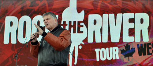 Franklin Graham speaks at a past `Rock the River` tour event. He will appear in Buffalo this weekend with his new `Rock the Lakes` festival. (photo courtesy of Billy Graham Evangelistic Association)