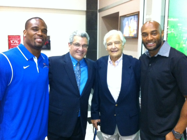 Pictured from left are Buffalo Bills running back Fred Jackson, Buffalo Hall of Fame sportscaster Rock Azar, `The Fred Jackson Show` host Bob Koshinski and Buffalo Bills cornerback George Wilson.