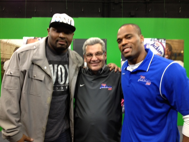 Spencer Johnson, left, stands with Bob Koshinski and Fred Jackson on `The Fred Jackson Show` on WBBZ-TV.