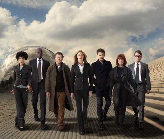 The cast of `Fringe.` Pictured from left are Jasika Nicole, Lance Reddick, John Noble, Anna Torv, Joshua Jackson, Blair Brown and Seth Gabel. (photo by Andrew Matusik/FOX) `Fringe` airs Fridays at 9 p.m. on FOX.