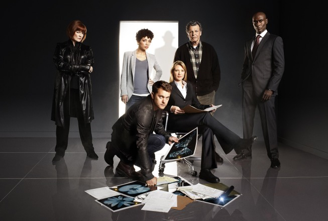 The `Fringe` team returns in the season 3 premiere airing Thursday, Sept. 23 (9 p.m. ET/PT) on FOX. Pictured from left are stars: Blair Brown, Jasika Nicole, Joshua Jackson, Anna Torv, John Noble and Lance Reddick. (photo ©2010 Fox Broadcasting Co./CR: Andrew Macpherson/FOX)