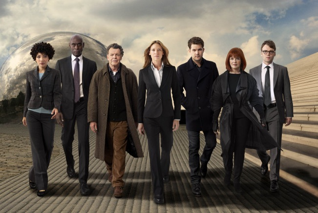 `Fringe` will return this fall on FOX. Pictured, from left, are stars Jasika Nicole, Lance Reddick, John Noble, Anna Torv, Joshua Jackson, Blair Brown and Seth Gabel. (photo ©2011 Fox Broadcasting Co./credit: Andrew Matusik/FOX)