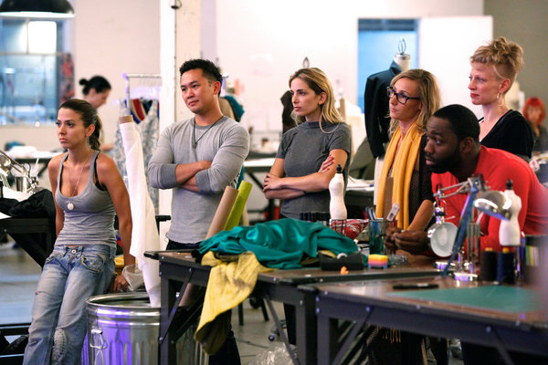 Pictured from `Fashion Star`: Orly Shani, Ronnie Escalante, Luciana Scarabello, Nikki Poulos, Nzimiro Oputa and Kara Laricks. (photo by Tyler Golden/NBC)