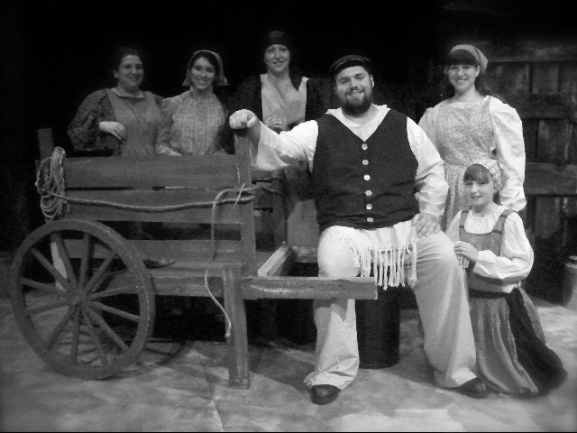 Pictured (front) is Daniel Zerpa as Tevye and Camryn Porter (Sphrintze); (back) Sara' Kov'acsi (Tzeitel), Marina Laurendi (Hodel), Joann V. Mis (Golde) and Jill Anderson (Chava).