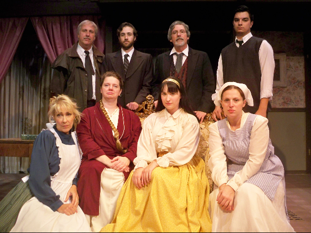The cast of `The Spiral Staircase`: front row, from left, is Carolyn Woomer, Julie Senko, Amanda Woomer and Katherine Quattrini; back row, from left, includes Mark Woomer, Trey Wydysh, Don Swartz and Michael Dempsey.