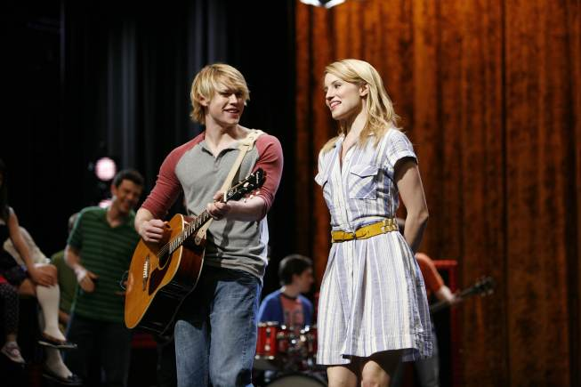 Sam (Chord Overstreet) and Quinn (Dianna Agron) perform on stage in the `Rumours` episode of `Glee` on FOX. (photo ©2011 Fox Broadcasting Co./credit Beth Dubber/FOX)