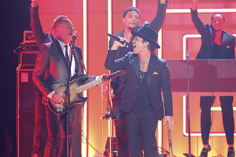 Sting and Bruno Mars perform at The 55th Annual Grammy Awards. The music industry's premier event took place Sunday at STAPLES Center in Los Angeles, and aired live on the CBS Television Network. (photo: Monty Brinton/CBS ©2013 CBS Broadcasting Inc. All rights reserved.)