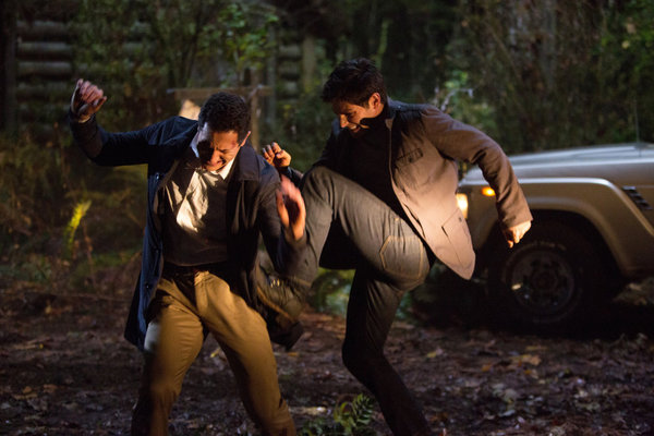 `Grimm`: Sasha Roiz's Captain Renard, left, fights a perturbed Det. Nick Burkhardt (David Giuntoli). (photo by Scott Green/NBC)